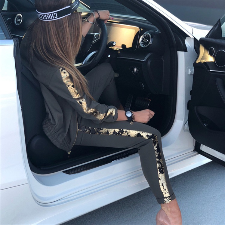 ZOGAA 2019 women sports suit casual sequins stitching jacket trousers sweat suits women two piece set top and pants tracksuit 21
