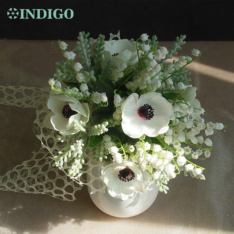 INDIGO - White Convallaria +Anemone Bouquet Wedding Bride Flower Lily of the Valley Centerpiece Free Shipping