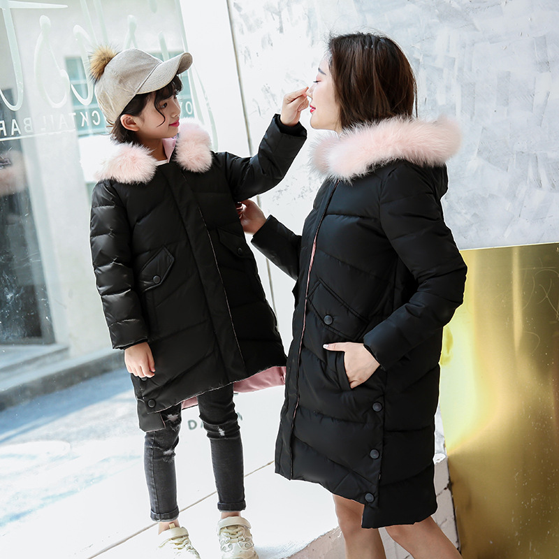 2018 New Children's Duck Down Jacket Girl Long Section Thicken Daughter Mother Family Matching Outfit With Two color Fur Collar