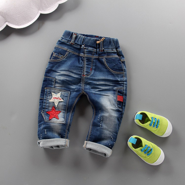 2017 spring autumn boys star jeans 1-4 years cotton toddler boy denim pants infant kids casual trousers