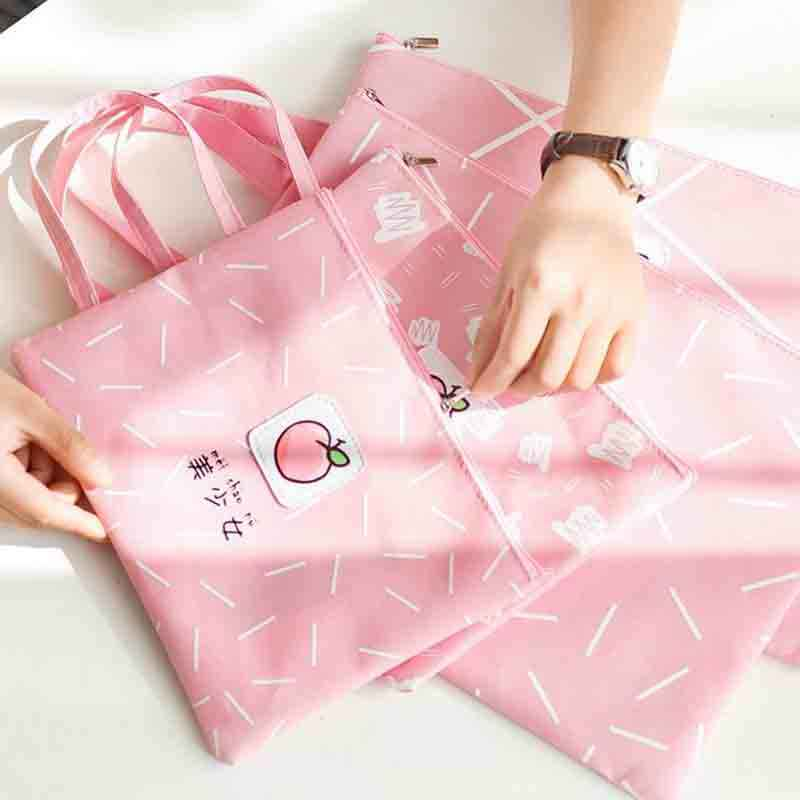1 Pcs Kawaii A4 A5 Fruit Honey Peach Document Bag File Folder Stationery Organizer Filing Products Stationery