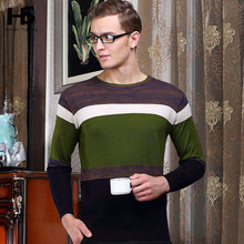 High Quality 2016 New Arrival Autumn Wool Sweater Men O-Neck Striped Pull Homme Cashmere Pullover Shirt Brand Clothing XXXL 6623