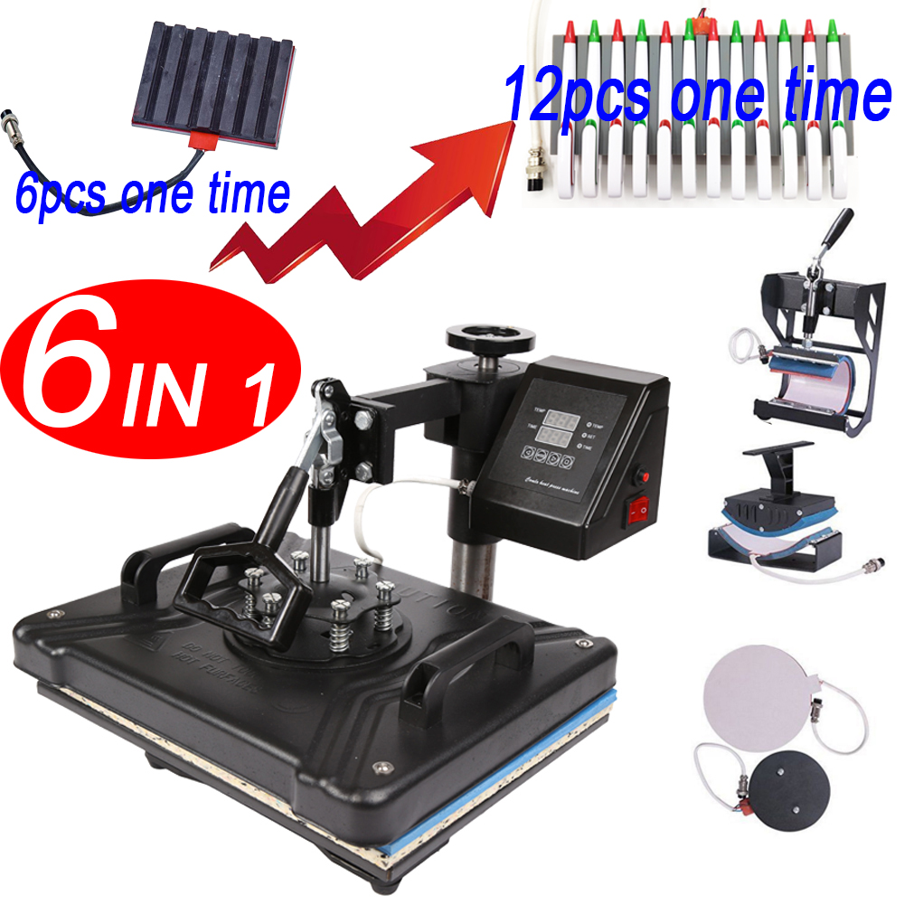 double display 30*38CM 6 in 1 Combo Heat Press Printer Machine 2D Sublimation Vacuum for T-shirts Cap Mug Plates pen(China)