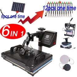 Podwójny wyświetlacz 30*38CM 6 w 1 Combo pen prasa heat press 2D próżniowa sublimacji do koszulek czapka kubek płyty długopis w Drukarki od Komputer i biuro na