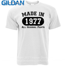2017 Summer Clothing Funny Short Sleeve Mens Made In 1977 All Original Parts Distressed Design 40Th Birthday T Shirt