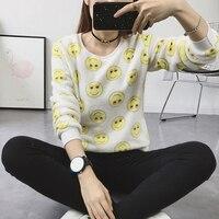 2017 Woman Korean Pink Cartoon Fleece Sweatshirts Polka Dot Animal Velvet Pullover Hoodies