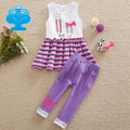 Neat 2016 new summer Baby girl suit set bow style pattern stripes cotton girls clothes sleeveless dress suits for girls SD6618#