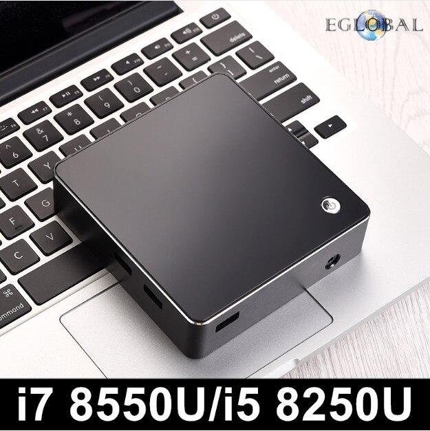 Eglobal New [8th Gen Intel Core I7 8550U I5 8250U Quad Core 8 Threads] Nuc Mini PC Windows 10 DDR4 AC Wifi 4K HTPC HDMI Mini DP