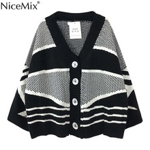 NiceMix Autumn Casual Knitted Stripe Cardigan Women Sweater Coat Korean Streetwear Woman Clothes Jersey Mujer Pull Hiver Femme