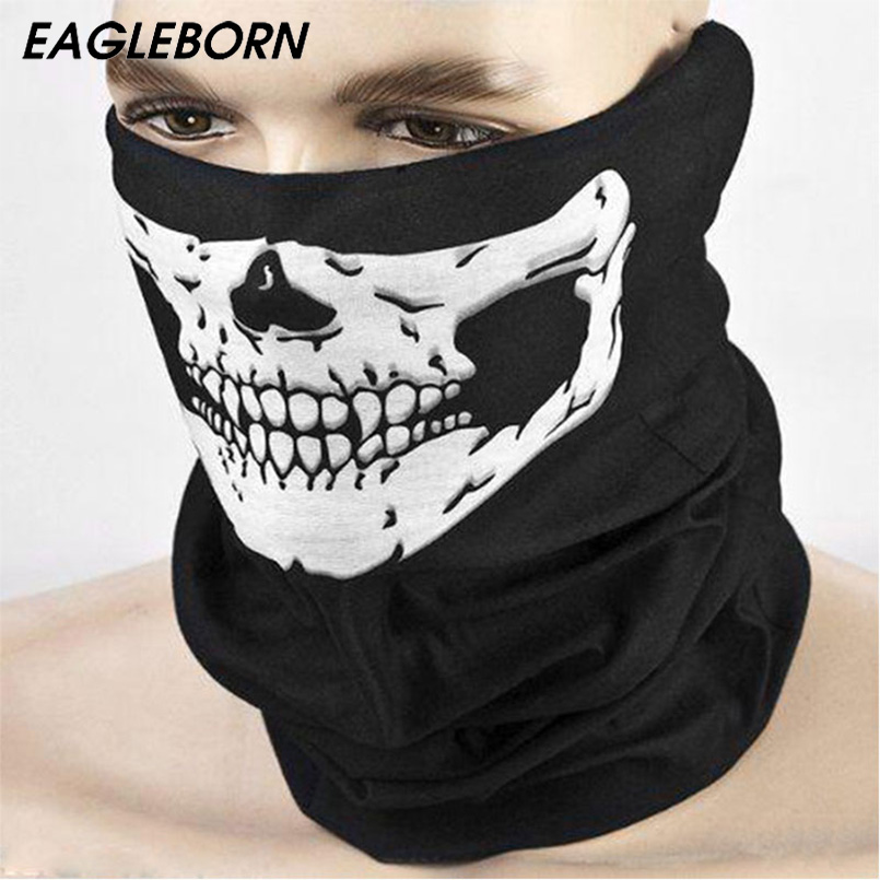 Skull Face Mask Halloween Party Scary Funny Balaclava Bone Black Motorcycle Mask Headwear Scarf Ski Mask Multi Function 10pcs halloween skull skeleton adult kids motorcycle headwear hat scarf half face mask cap neck ghost scarf