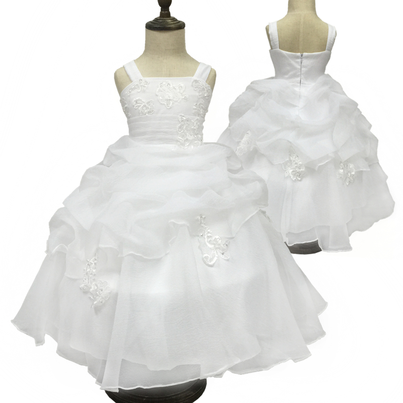 2016 New High Quality White First Communion Dress Lace Appliques Ivory Flower Girl Dresses For Weddings Ball Gowns For Girl 0508 new white and blue lace flower girl dresses birthday party pageant prom glitz frocks first communion ball gowns for juniors