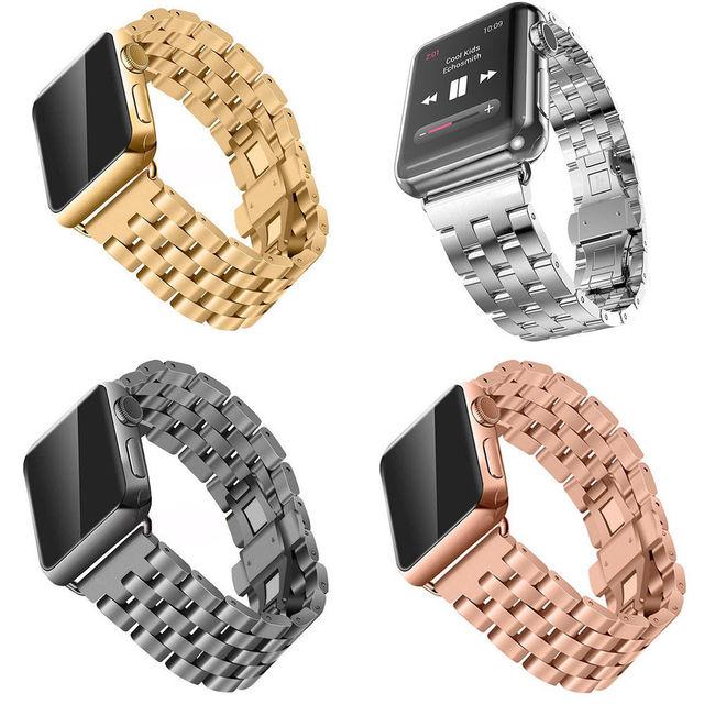 Hebilla de mariposa de acero inoxidable de reemplazo correa para apple watch iwatch venda de reloj wist + chapado en oro cubierta caso de parachoques 42/38