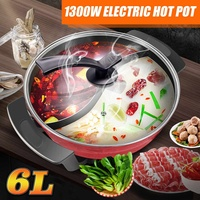 32cm Hot Pot 220V 1300W 6L Multifunctional Electric Hot Pot Mandarin Duck Electric Pot Cooker Aluminum Non stick For Home