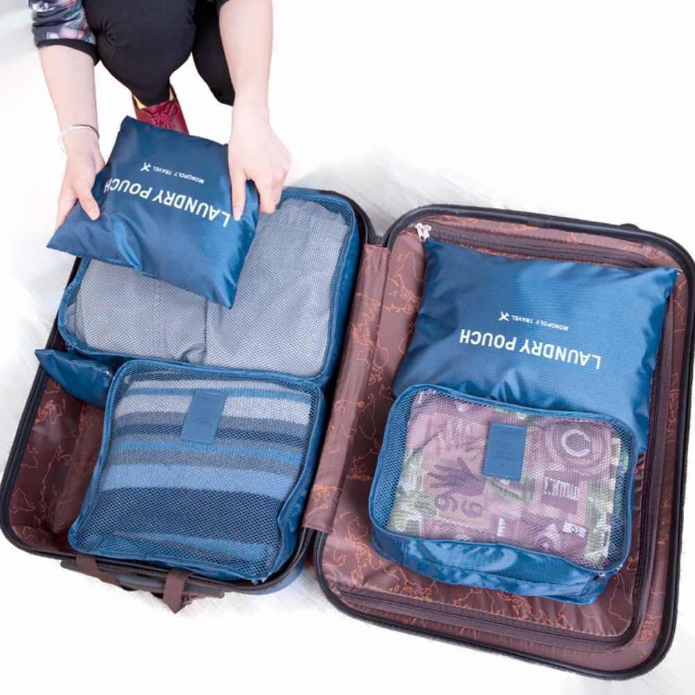 Aosbos 6 шт. Набор дорожный Органайзер вещевой мешок выходные сумки одежда для всей семьи разделенные мужские дорожные сумки упаковка кубиков женская сумка для багажа