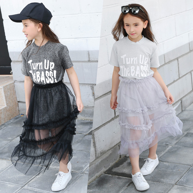 2017 Niñas outfit Shining Tops trajes Glitter ropa niños ...