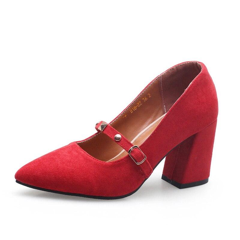 Chunky 46 De Bout Plus rouge Beige 32 Printemps Pointu Haute Taille La Rivet Talons Chaussures rose Femmes noir Décoration Femme Sarairis Pompes TwqOFE5w