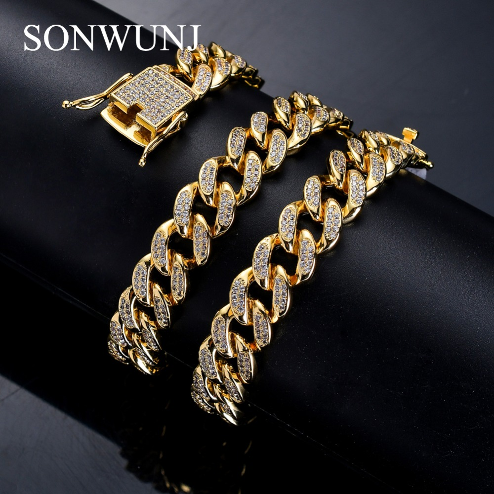 12mm width 18inch 20inch 24inch Iced out Bling bling Copper Cuban Chain Hip Hop micro pave