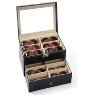 12 pieces capacity lockable eyeglass counter table display box sunglass presentation case double tray eyewear collection box