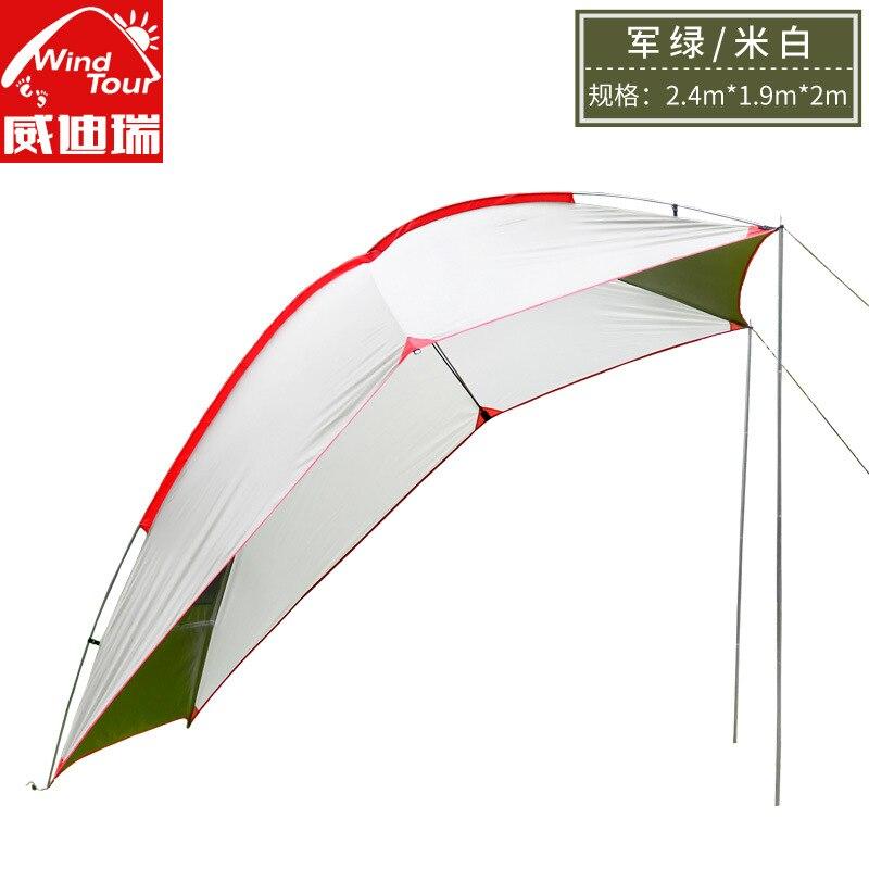 WindTour 2.4*1.9*2 M poteaux en aluminium auto-conduite queue tente étanche à la pluie soleil abri grand auvent Camping tente plage tente