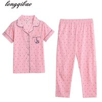 2017 summer short sleeved cotton pajamas ladies large size casual pants thin section tracksuit suit TB7569