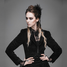 Gothic Women Prom Swallow-tailed Coat Court Lace Short Jacket Palace Long Sleeve Black Party Jackets