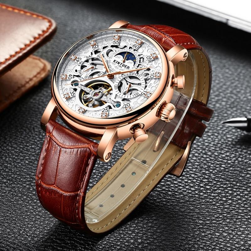 цена KINYUED Moon Phase Mechanical Skeleton Watch Men Rose Gold Business Male Mechanical Watches Perpetual Calendar horloges mannen онлайн в 2017 году