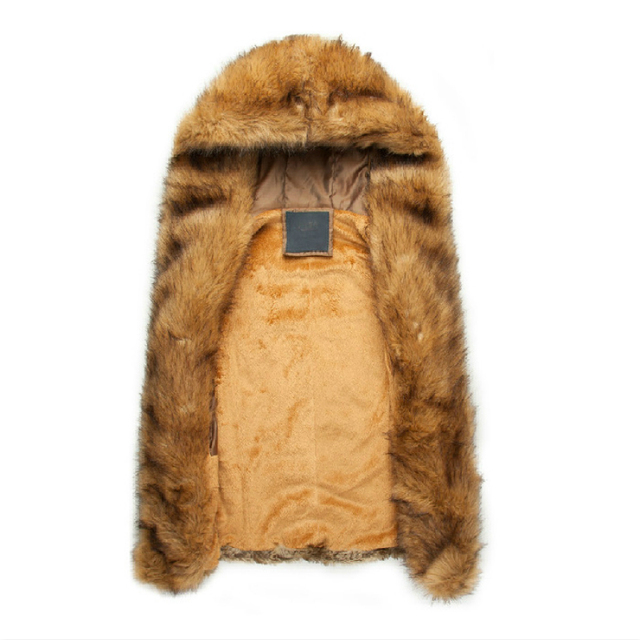 Faux Fur Vest Raccoon Fur Coat Hooded Sleeveless Jackets Mens Warm Winter Waistcoat Casual Brown Mink Gilet Rock Singer Clothing
