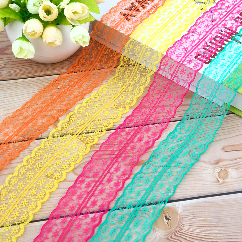 5 Meters Multicolored Lace Ribbon Fabric By The Roll Sewing Lace Ribbon Fabric Material for Diy Apparel Sewing Accessories in Lace from Home Garden