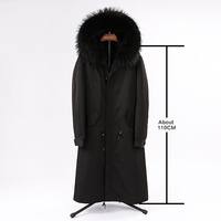 HUYOU Women's X Long Natural Raccoon Coat Fur Parkas Winter Warm Casual Real Fur Jacket With Big Raccoon Fur Collar Outwear