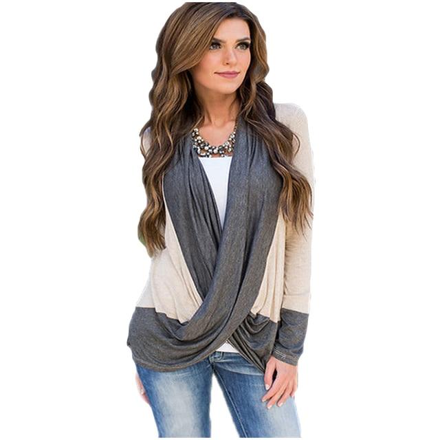 Fashion Women Tops Shirts Long Sleeve Designs Cross Front American Apparel Basic Cardigan 2016 Patchowork Tee Shirt Femme XXL