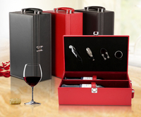 Hot Sale PU Leather 2 Bottle Wine Gift Box With Accessories Bottle Opener Set