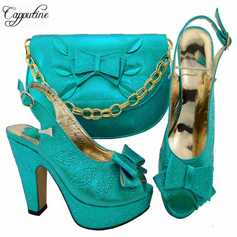 Capputine Summer Style High Heels Shoes And Matching Bag Set Fashion African Woman Shoes And Bag Set For Evening Dress YM005 capputine new arrival rhinestone slipper shoes and matching bag set africa style high heels shoes and bag set evening party