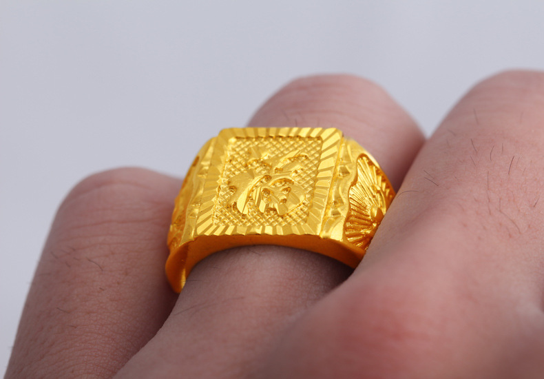 Chinese Characters Mean Blessing Marry 24k Gold Plated Men Finger