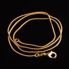Cadena de serpiente de 1MM para mujer, gargantilla de color dorado, collares para joyería a granel de 16, 18, 20, 22, 24, 26, 28 y 30 pulgadas, 10 Uds. Por lote