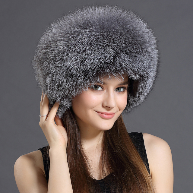 Real Fur Bomber Hats For Women Leather Top Solid Russian Grey/Black/White Female Headgear Female Winter Caps Hats New 2016 Gorro