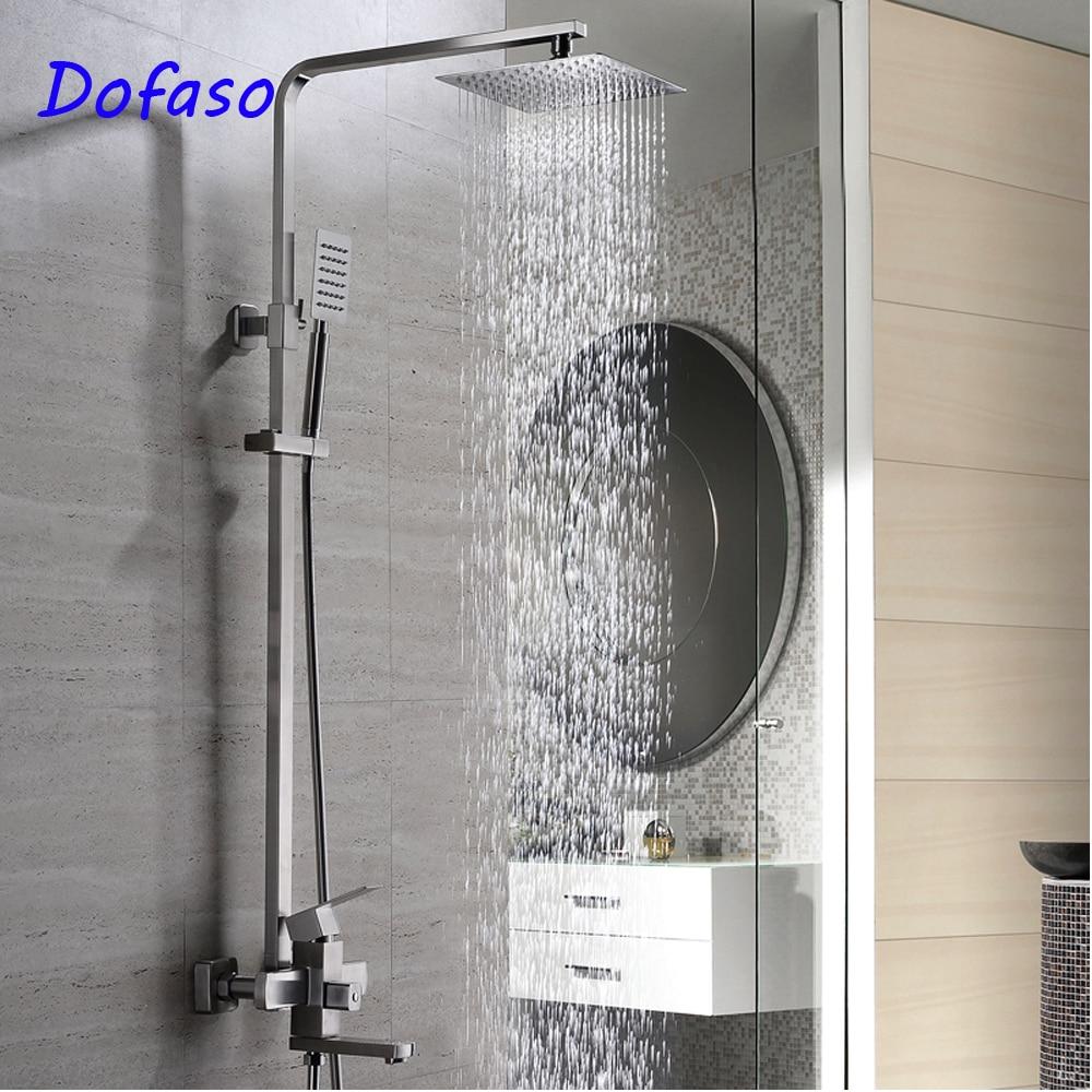 Dofaso 20 ans système de douche de qualité set meilleur 304 robinet de douche de bain lourd avec tube carré et pomme de douche de qualité supérieure 20 cm