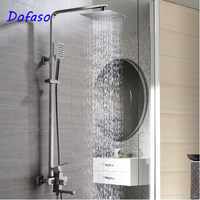 Dofaso 20 years quality shower system set best 304 heavy bath shower faucet with square tube and top shower head 20cm