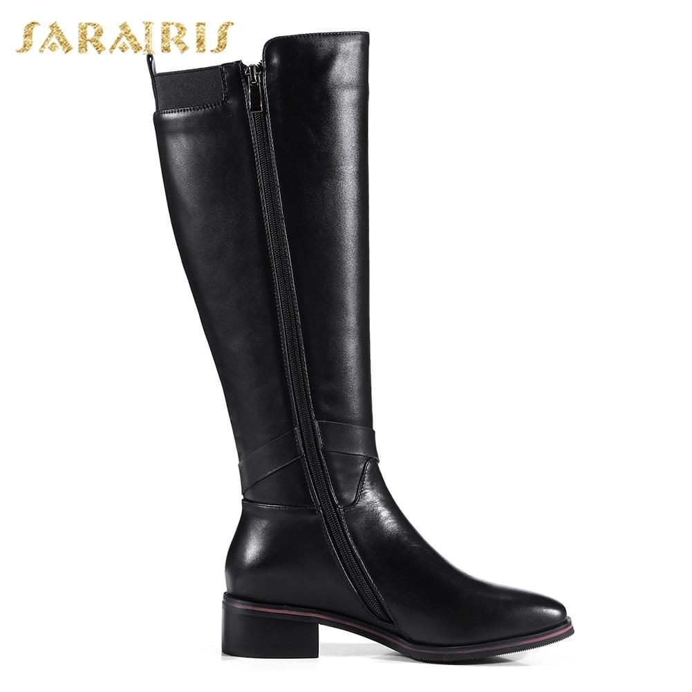 Chaussures Bottes Vache Femme GenouHaute Mode Noir Cuir Femmes Sarairis D'hiver En De 33 D'équitation Taille 2018 42 Véritable Grande Loisirs b6yYf7vIgm