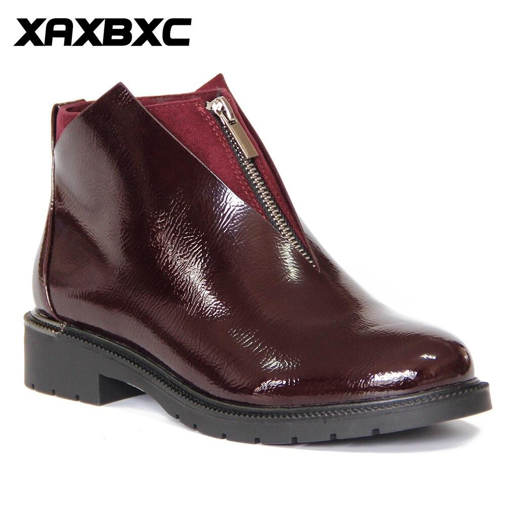 XAXBXC Rétro Style Britannique Brogues En Cuir Oxford Botte Courte Femmes Chaussures Zipper V Bord Bout Rond À La Main Casual Lady Chaussures