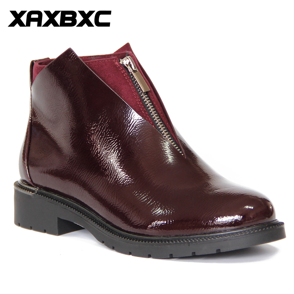 XAXBXC Retro British Style Leather Brogues Oxfords Short Boot Women Shoes Zipper V Edge Round Toe Handmade Casual Lady Shoes