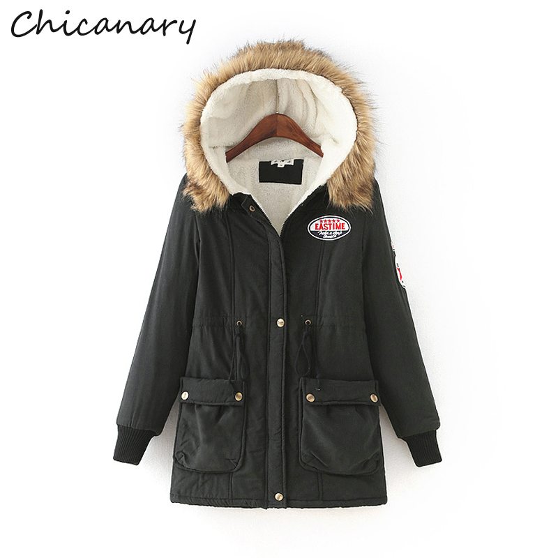 Chicanary 2017 Winter Coat Women Slim Plus Size Outwear Medium-Long Wadded Jacket Thick Hooded Cotton Fleece Warm Cotton Parkas new 2016 winter cotton coat women slim outwear medium long wadded jacket thick hooded cotton wadded warm cotton parka plus size