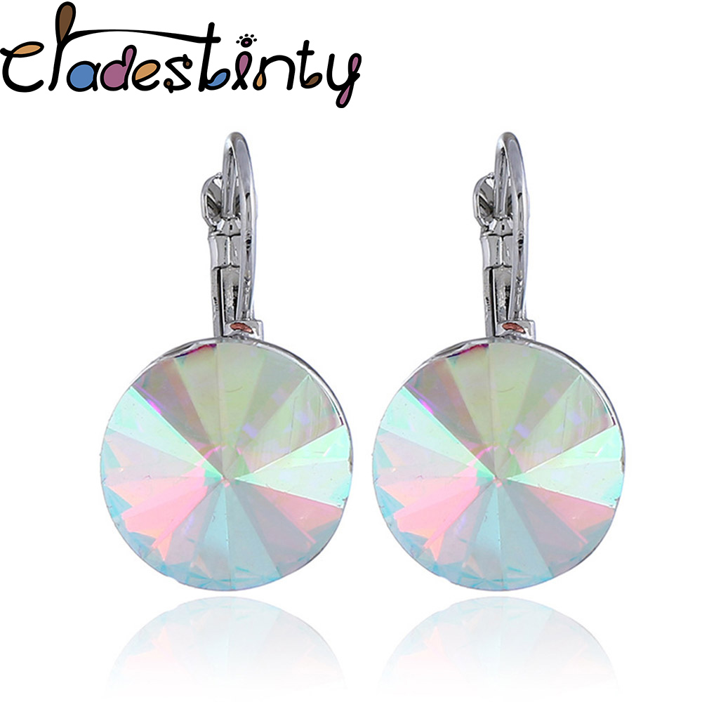 Chadestinty Female Korean Earrings Pink White Blue Round Crystal Drop Dangle Earring For Women Wedding Jewelry Orecchini Donna