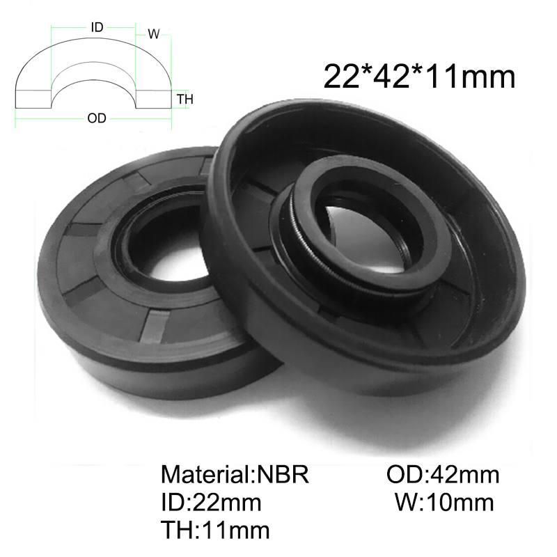 Select Size ID 42-45mm TC Double Lip Rubber Rotary Shaft Oil Seal with Spring