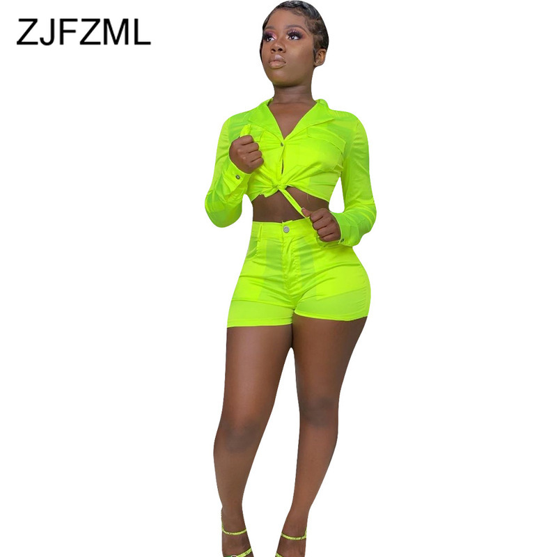 Neon Green Plus Size Two Piece Sweat Suits Women Clothes Turn Down Collar Long Sleeve Crop Top+Bodycon Shorts Summer Club Outfit