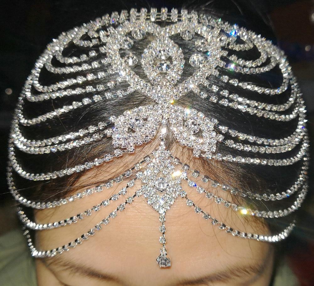 Свадебный головной убор, хрустальные стразы, цепочка, колпачок, свадебные аксессуары, вечерние украшения на голову