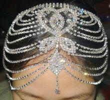 Headpiece nupcial cristal strass corrente flapper boné casamento gatsby acessórios festa backside testa cabeça banda peça jóias