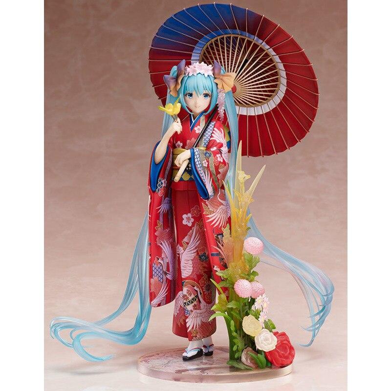 Hatsune Miku avec parapluie plus fort fleur vocaloïde imprimé Kimono Yukata Anime Figure poupée modèle jouets artisanat décoration