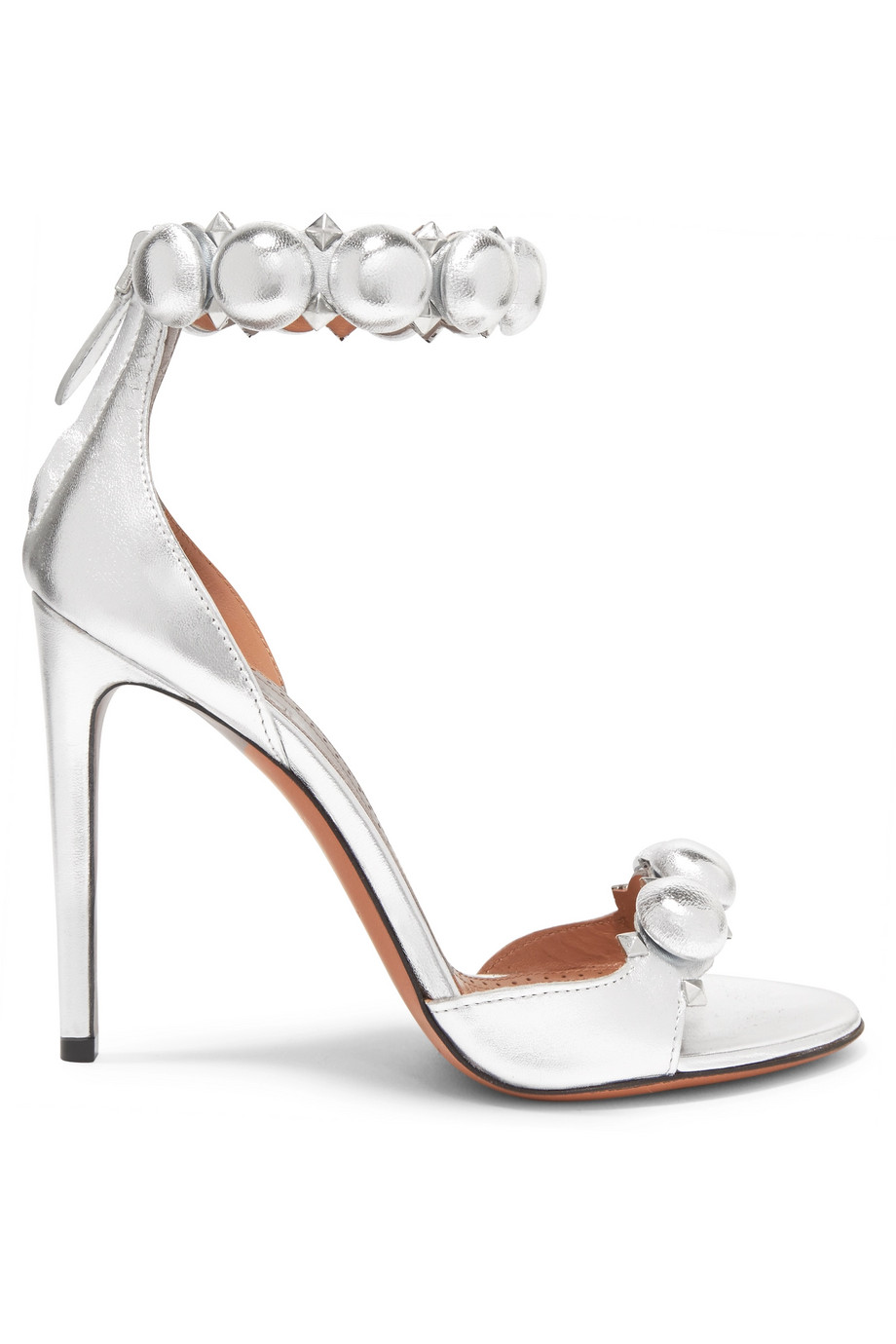 1cfdf654fbd1 As Couverture De Boucle Supérieure Femmes Rivets D été Show Argent Bouton Cheville  Sandales Une Chaussures ...
