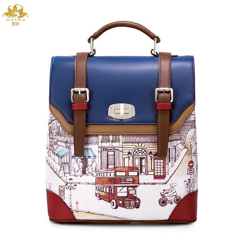 WE MOER Vintage British Backpack Women PU leather School Bag Panelled Backpacks Famous Brand Women Bag
