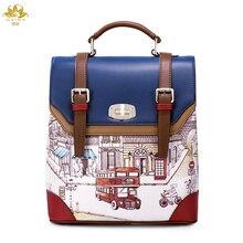 Мы moer Винтаж Британский рюкзак Для женщин Искусственная кожа школьная сумка панелями Рюкзаки известный бренд Для женщин сумка Бесплатная доставка